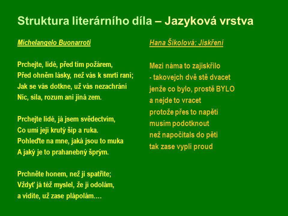 Struktura literárního díla – Jazyková vrstva Michelangelo Buonarroti Prchejte, lidé, před tím požárem, Před ohněm lásky, než vás k smrti raní; Jak se