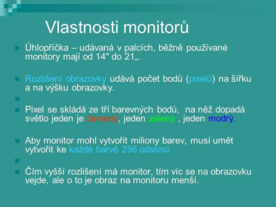 Vlastnosti monitorů Úhlopříčka – udávaná v palcích, běžně používané monitory mají od 14
