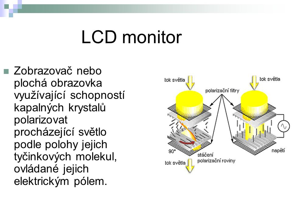LCD monitor Zobrazovač nebo plochá obrazovka využívající schopností kapalných krystalů polarizovat procházející světlo podle polohy jejich tyčinkových