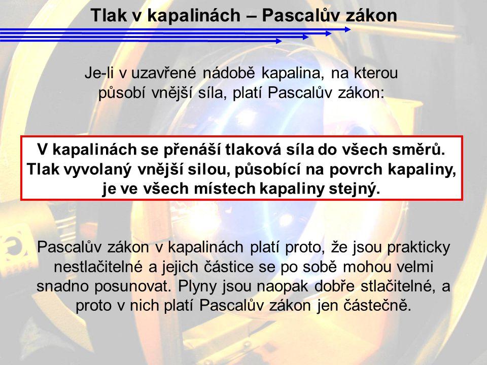 Tlak v kapalinách – Pascalův zákon Pascalův zákon v kapalinách platí proto, že jsou prakticky nestlačitelné a jejich částice se po sobě mohou velmi sn