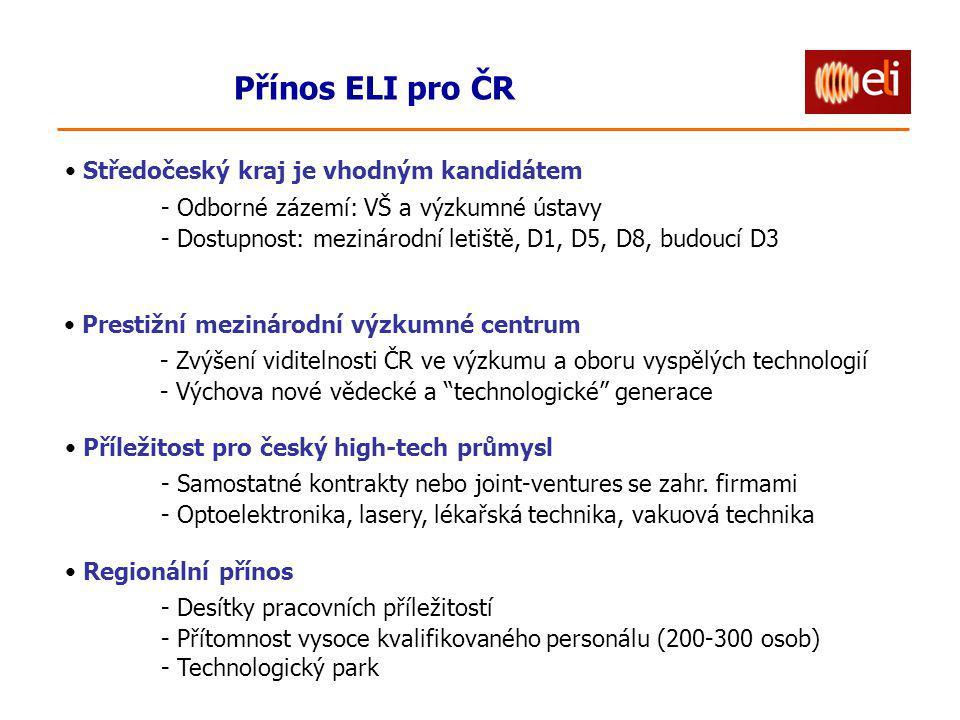 Přínos ELI pro ČR Prestižní mezinárodní výzkumné centrum - Zvýšení viditelnosti ČR ve výzkumu a oboru vyspělých technologií - Výchova nové vědecké a technologické generace Příležitost pro český high-tech průmysl - Samostatné kontrakty nebo joint-ventures se zahr.