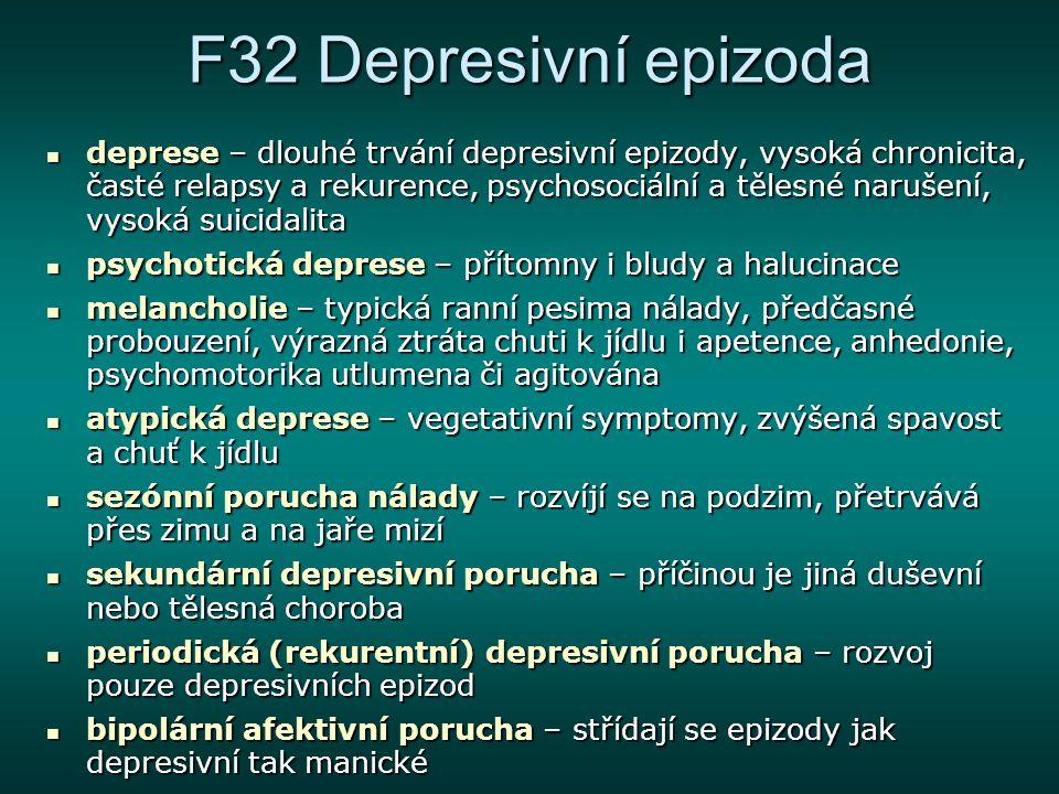 F32 Depresivní epizoda deprese – dlouhé trvání depresivní epizody, vysoká chronicita, časté relapsy a rekurence, psychosociální a tělesné narušení, vy