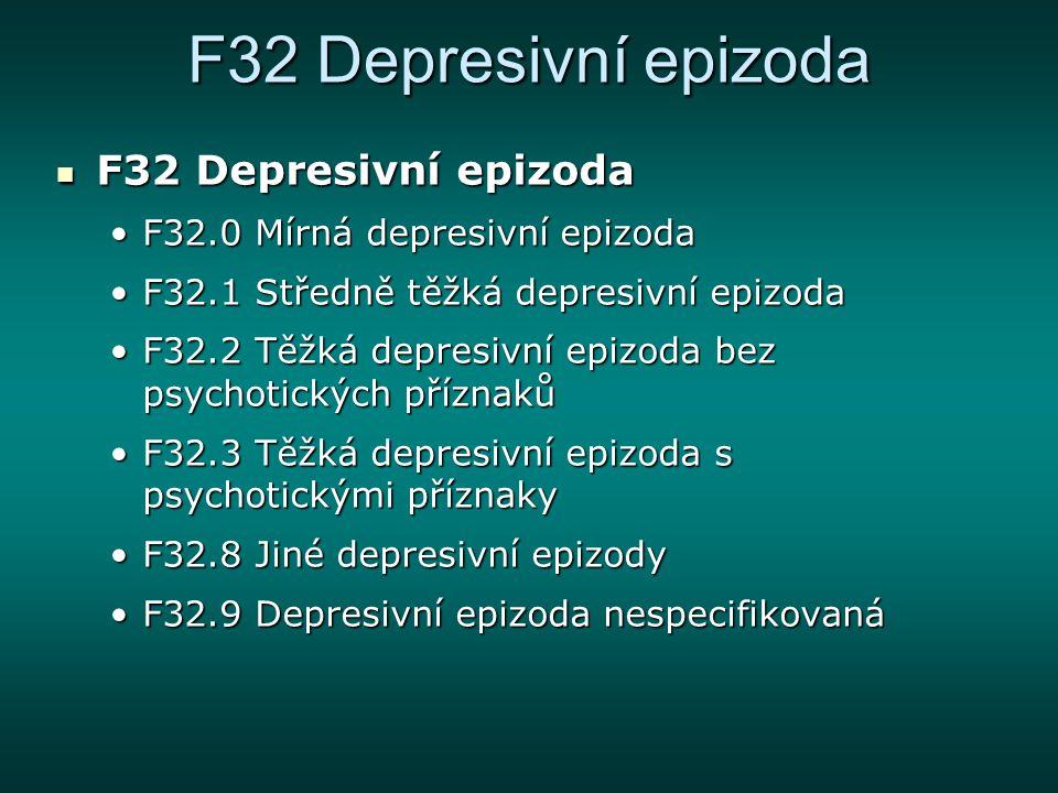 F32 Depresivní epizoda F32 Depresivní epizoda F32 Depresivní epizoda F32.0 Mírná depresivní epizodaF32.0 Mírná depresivní epizoda F32.1 Středně těžká