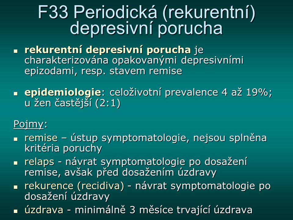 F33 Periodická (rekurentní) depresivní porucha rekurentní depresivní porucha je charakterizována opakovanými depresivními epizodami, resp. stavem remi