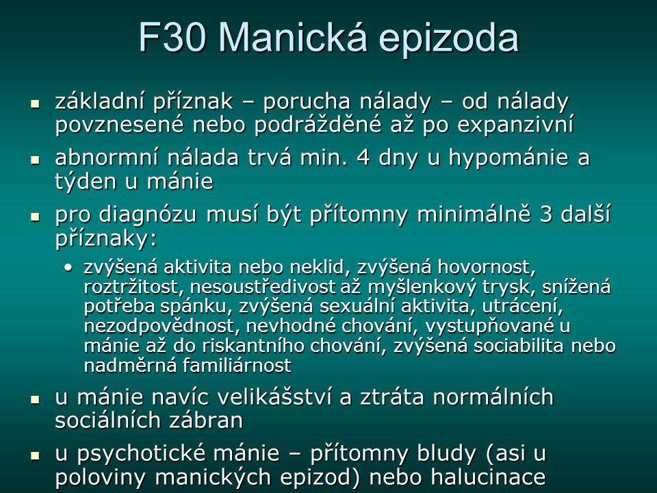 F30 Manická epizoda základní příznak – porucha nálady – od nálady povznesené nebo podrážděné až po expanzivní základní příznak – porucha nálady – od n