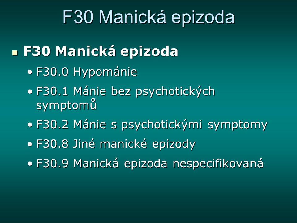 F30 Manická epizoda F30 Manická epizoda F30 Manická epizoda F30.0 HypománieF30.0 Hypománie F30.1 Mánie bez psychotických symptomůF30.1 Mánie bez psych