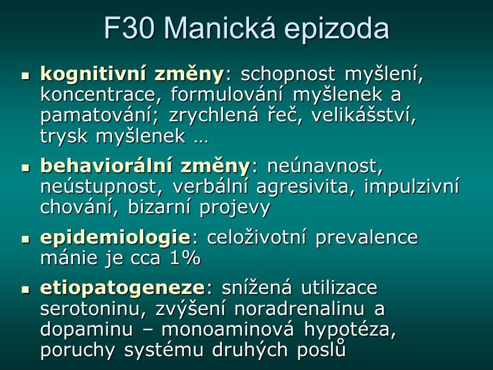 F30 Manická epizoda kognitivní změny: schopnost myšlení, koncentrace, formulování myšlenek a pamatování; zrychlená řeč, velikášství, trysk myšlenek …