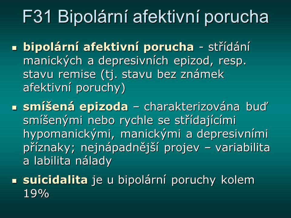 F31 Bipolární afektivní porucha bipolární afektivní porucha - střídání manických a depresivních epizod, resp. stavu remise (tj. stavu bez známek afekt