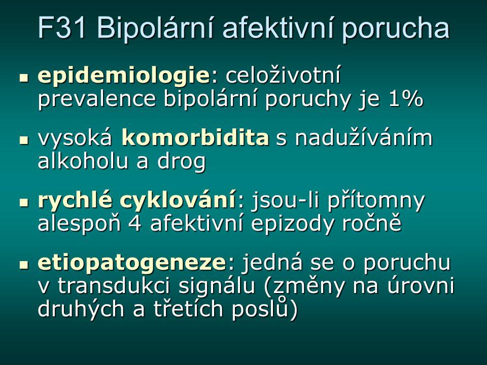 F31 Bipolární afektivní porucha epidemiologie: celoživotní prevalence bipolární poruchy je 1% epidemiologie: celoživotní prevalence bipolární poruchy