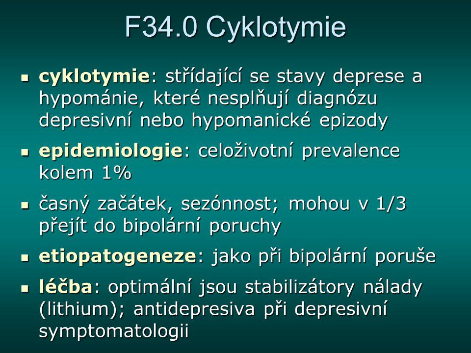 F34.0 Cyklotymie cyklotymie: střídající se stavy deprese a hypománie, které nesplňují diagnózu depresivní nebo hypomanické epizody cyklotymie: střídaj