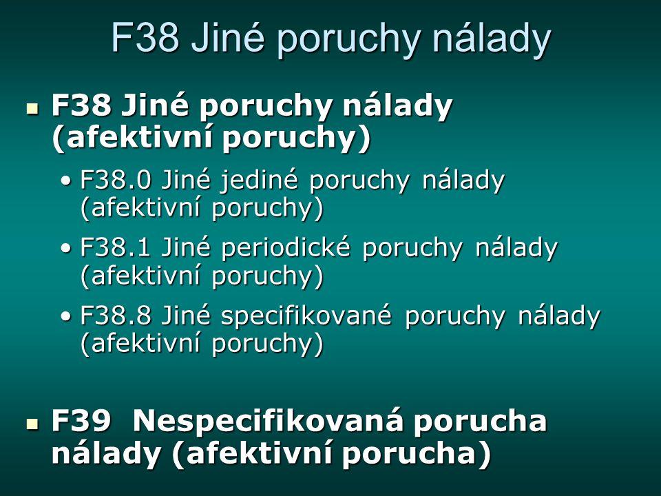 F38 Jiné poruchy nálady F38 Jiné poruchy nálady (afektivní poruchy) F38 Jiné poruchy nálady (afektivní poruchy) F38.0 Jiné jediné poruchy nálady (afek