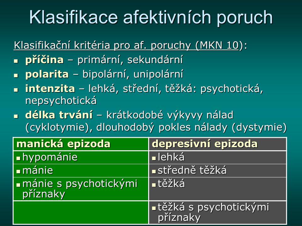 F31 Bipolární afektivní porucha Léčba: převládají biologické postupy, ale i psychoterapie převládají biologické postupy, ale i psychoterapie v akutní fázi (manické i depresivní) začít se stabilizátory nálady (lithium) v akutní fázi (manické i depresivní) začít se stabilizátory nálady (lithium) z antidepresiv jsou preferovány SSRI z antidepresiv jsou preferovány SSRI u mánie je často nutno použít antipsychotika u mánie je často nutno použít antipsychotika s nástupem remise se zavádí pokračovací léčba (alespoň 4 měsíce)– nejnižší účinné hladiny stabilizátorů nálady s nástupem remise se zavádí pokračovací léčba (alespoň 4 měsíce)– nejnižší účinné hladiny stabilizátorů nálady