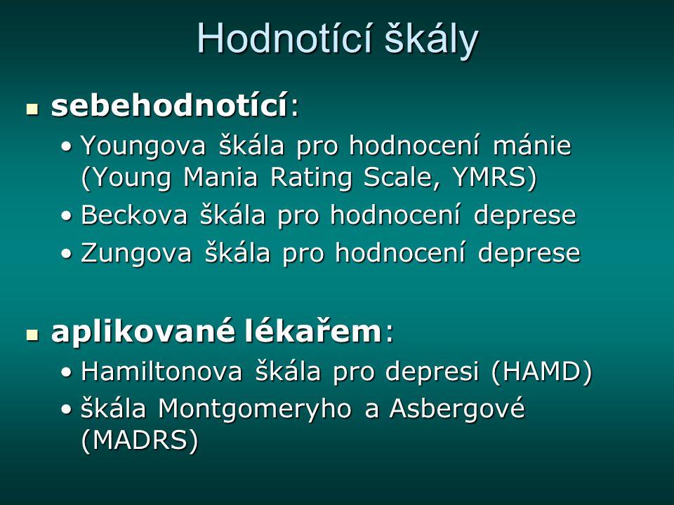 F34.0 Cyklotymie cyklotymie: střídající se stavy deprese a hypománie, které nesplňují diagnózu depresivní nebo hypomanické epizody cyklotymie: střídající se stavy deprese a hypománie, které nesplňují diagnózu depresivní nebo hypomanické epizody epidemiologie: celoživotní prevalence kolem 1% epidemiologie: celoživotní prevalence kolem 1% časný začátek, sezónnost; mohou v 1/3 přejít do bipolární poruchy časný začátek, sezónnost; mohou v 1/3 přejít do bipolární poruchy etiopatogeneze: jako při bipolární poruše etiopatogeneze: jako při bipolární poruše léčba: optimální jsou stabilizátory nálady (lithium); antidepresiva při depresivní symptomatologii léčba: optimální jsou stabilizátory nálady (lithium); antidepresiva při depresivní symptomatologii