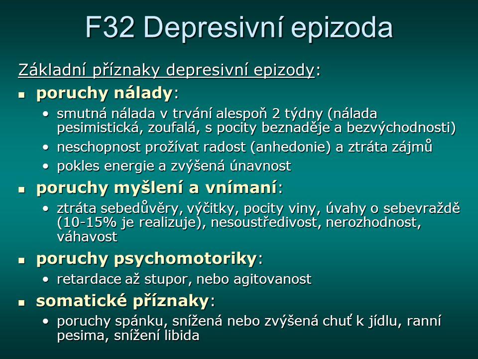 F32 Depresivní epizoda kognitivní příznaky: kognitivní příznaky: ruminace, hypochondrické a suicidální myšlenky, mentální pochody často zpomalenyruminace, hypochondrické a suicidální myšlenky, mentální pochody často zpomaleny behaviorální projevy, aktivita: behaviorální projevy, aktivita: u bipolární deprese je aktivita vždy snížena, dominuje únava, hypobulieu bipolární deprese je aktivita vždy snížena, dominuje únava, hypobulie u unipolární formy může být přítomna úzkost, agitovanostu unipolární formy může být přítomna úzkost, agitovanost 10-15% suiciduje, 2/3 mají suicidální myšlenky; presuicidální syndrom10-15% suiciduje, 2/3 mají suicidální myšlenky; presuicidální syndrom