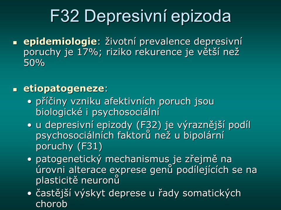 F32 Depresivní epizoda deprese – dlouhé trvání depresivní epizody, vysoká chronicita, časté relapsy a rekurence, psychosociální a tělesné narušení, vysoká suicidalita deprese – dlouhé trvání depresivní epizody, vysoká chronicita, časté relapsy a rekurence, psychosociální a tělesné narušení, vysoká suicidalita psychotická deprese – přítomny i bludy a halucinace psychotická deprese – přítomny i bludy a halucinace melancholie – typická ranní pesima nálady, předčasné probouzení, výrazná ztráta chuti k jídlu i apetence, anhedonie, psychomotorika utlumena či agitována melancholie – typická ranní pesima nálady, předčasné probouzení, výrazná ztráta chuti k jídlu i apetence, anhedonie, psychomotorika utlumena či agitována atypická deprese – vegetativní symptomy, zvýšená spavost a chuť k jídlu atypická deprese – vegetativní symptomy, zvýšená spavost a chuť k jídlu sezónní porucha nálady – rozvíjí se na podzim, přetrvává přes zimu a na jaře mizí sezónní porucha nálady – rozvíjí se na podzim, přetrvává přes zimu a na jaře mizí sekundární depresivní porucha – příčinou je jiná duševní nebo tělesná choroba sekundární depresivní porucha – příčinou je jiná duševní nebo tělesná choroba periodická (rekurentní) depresivní porucha – rozvoj pouze depresivních epizod periodická (rekurentní) depresivní porucha – rozvoj pouze depresivních epizod bipolární afektivní porucha – střídají se epizody jak depresivní tak manické bipolární afektivní porucha – střídají se epizody jak depresivní tak manické