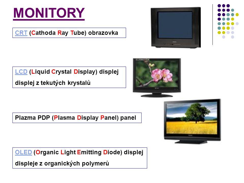 LCDLCD (Liquid Crystal Display) displej displej z tekutých krystalů Plazma PDP (Plasma Display Panel) panel OLEDOLED (Organic Light Emitting Diode) di