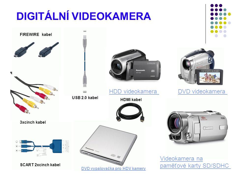 DVD videokamera Videokamera na paměťové karty SD/SDHC HDD videokamera DIGITÁLNÍ VIDEOKAMERA HDMI kabel SCART 2xcinch kabel 3xcinch kabel USB 2.0 kabel