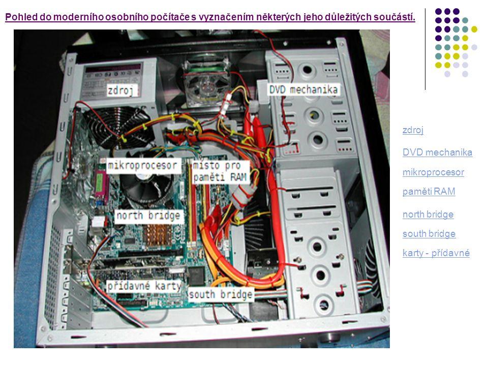 - základní deskazákladní deska - procesor,procesor - paměť ( ROM, RAM ) - zdroj napájení - grafická karta - zvuková karta - síťová/modemová karta - chladiče ( aktivní, pasivní ) Typické části hardwaru Po č íta č se skládá z procesoru, opera č ní pam ě ti a vstupn ě - výstupních za ř ízení.