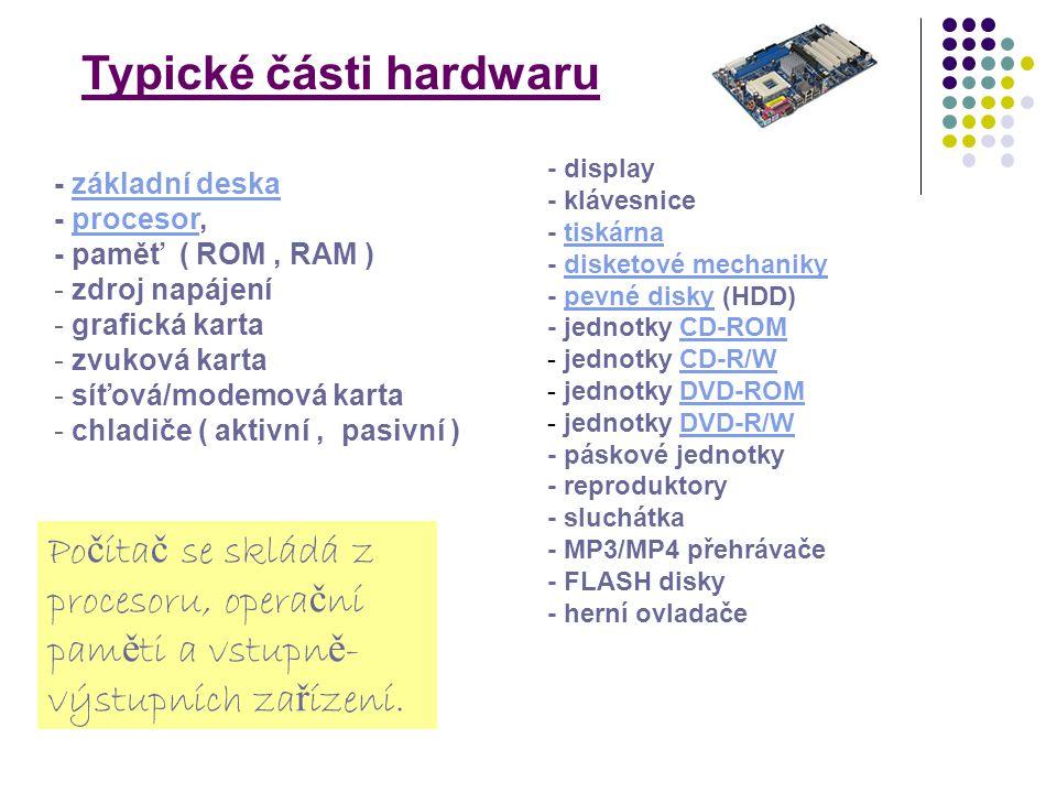 - základní deskazákladní deska - procesor,procesor - paměť ( ROM, RAM ) - zdroj napájení - grafická karta - zvuková karta - síťová/modemová karta - ch