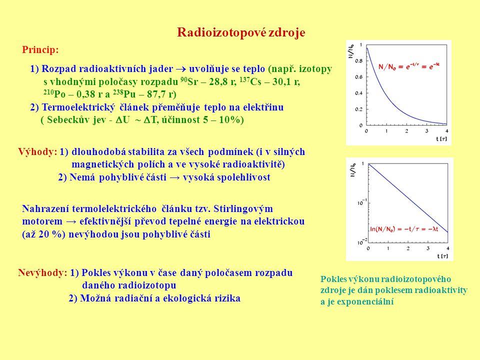 Radioizotopové zdroje Pokles výkonu radioizotopového zdroje je dán poklesem radioaktivity a je exponenciální Princip: 1) Rozpad radioaktivních jader 