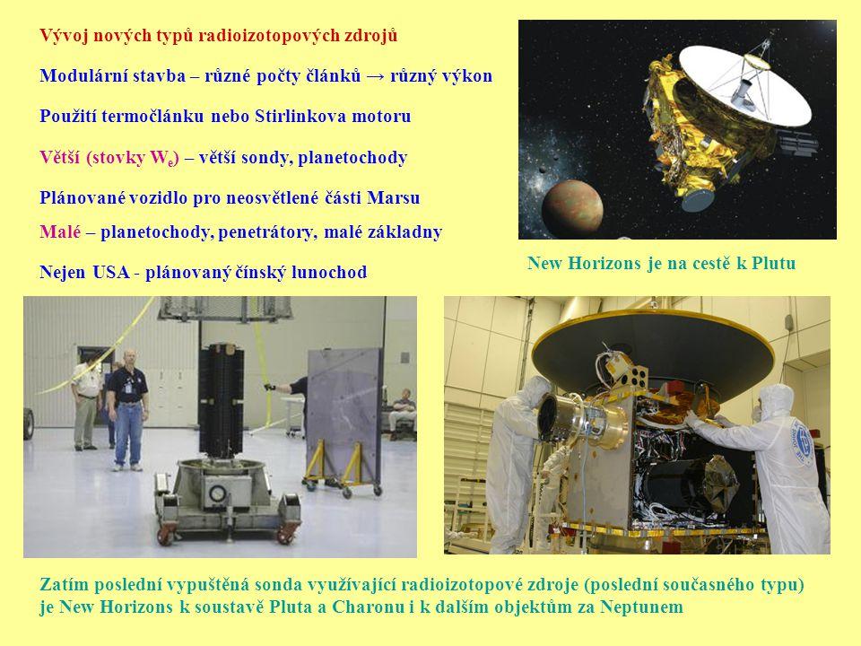 Nejen USA - plánovaný čínský lunochod Zatím poslední vypuštěná sonda využívající radioizotopové zdroje (poslední současného typu) je New Horizons k so