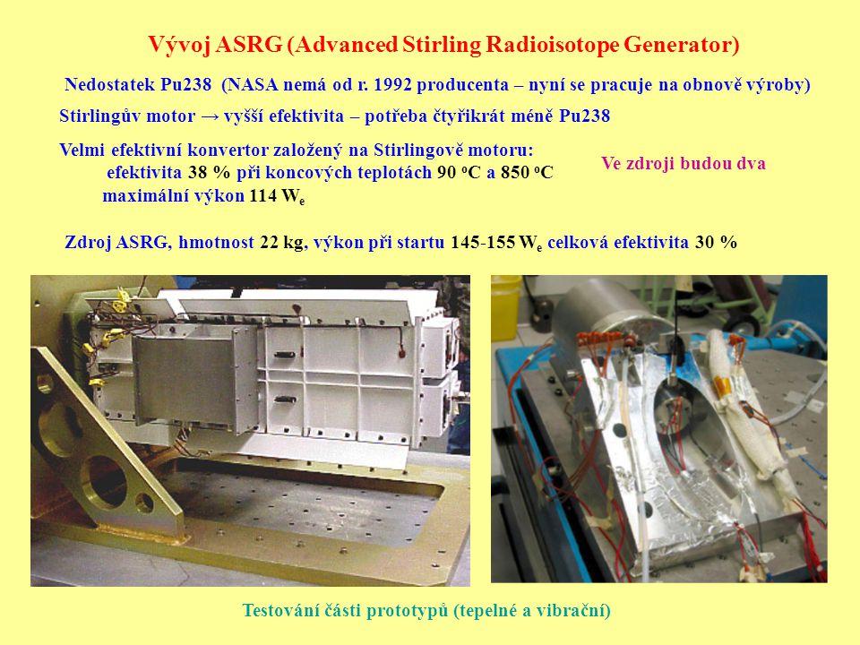 Vývoj ASRG (Advanced Stirling Radioisotope Generator) Nedostatek Pu238 (NASA nemá od r. 1992 producenta – nyní se pracuje na obnově výroby) Stirlingův
