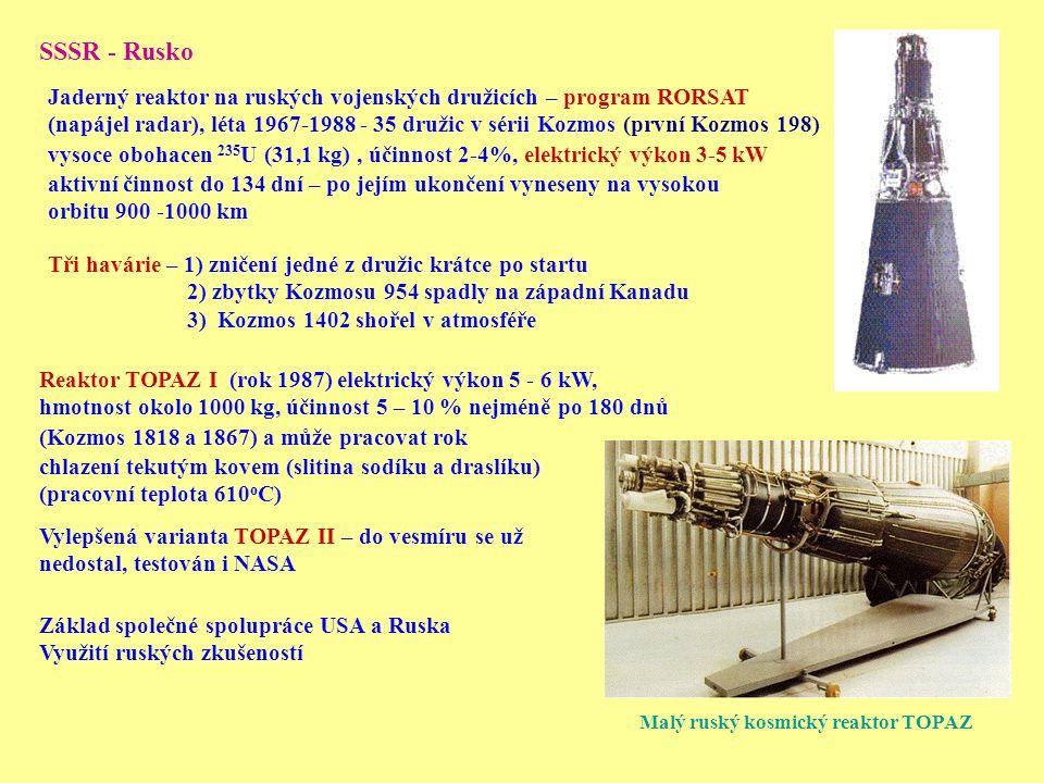 Malý ruský kosmický reaktor TOPAZ SSSR - Rusko Jaderný reaktor na ruských vojenských družicích – program RORSAT (napájel radar), léta 1967-1988 - 35 d