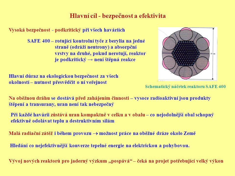 Hlavní cíl - bezpečnost a efektivita Vysoká bezpečnost - podkritický při všech haváriích Malá radiační zátěž i během provozu  možnost práce na oběžné