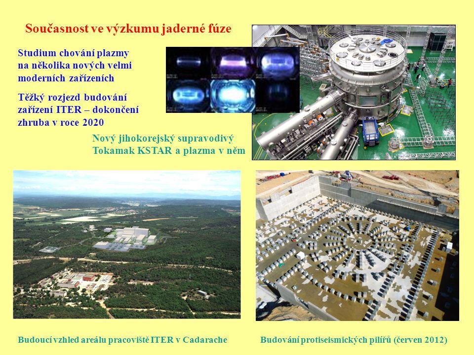 Současnost ve výzkumu jaderné fúze Budoucí vzhled areálu pracoviště ITER v Cadarache Budování protiseismických pilířů (červen 2012) Nový jihokorejský
