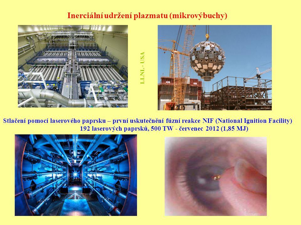Inerciální udržení plazmatu (mikrovýbuchy) Stlačení pomocí laserového paprsku – první uskutečnění fúzní reakce NIF (National Ignition Facility) 192 la