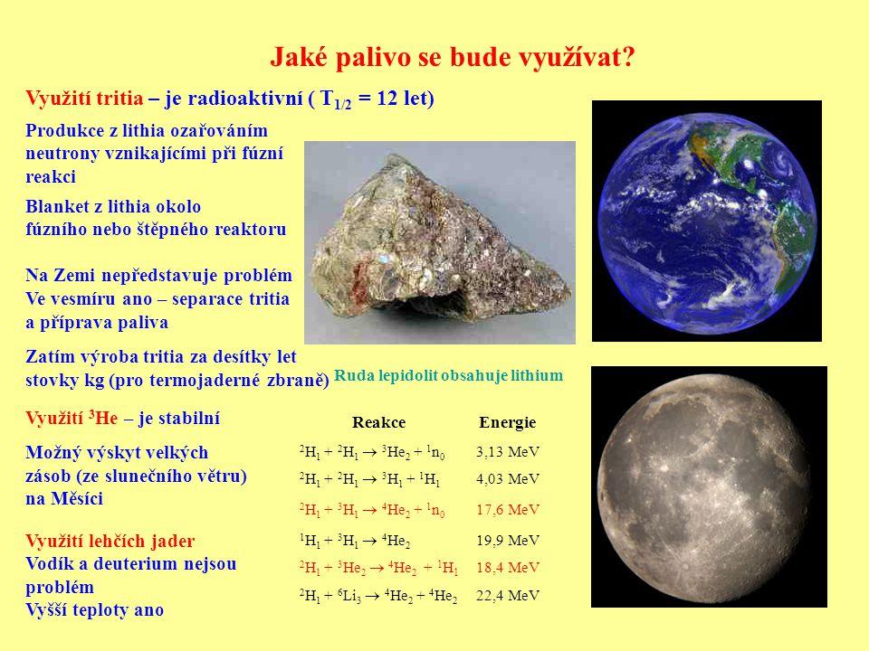 Jaké palivo se bude využívat? Využití tritia – je radioaktivní ( T 1/2 = 12 let) Využití 3 He – je stabilní Možný výskyt velkých zásob (ze slunečního