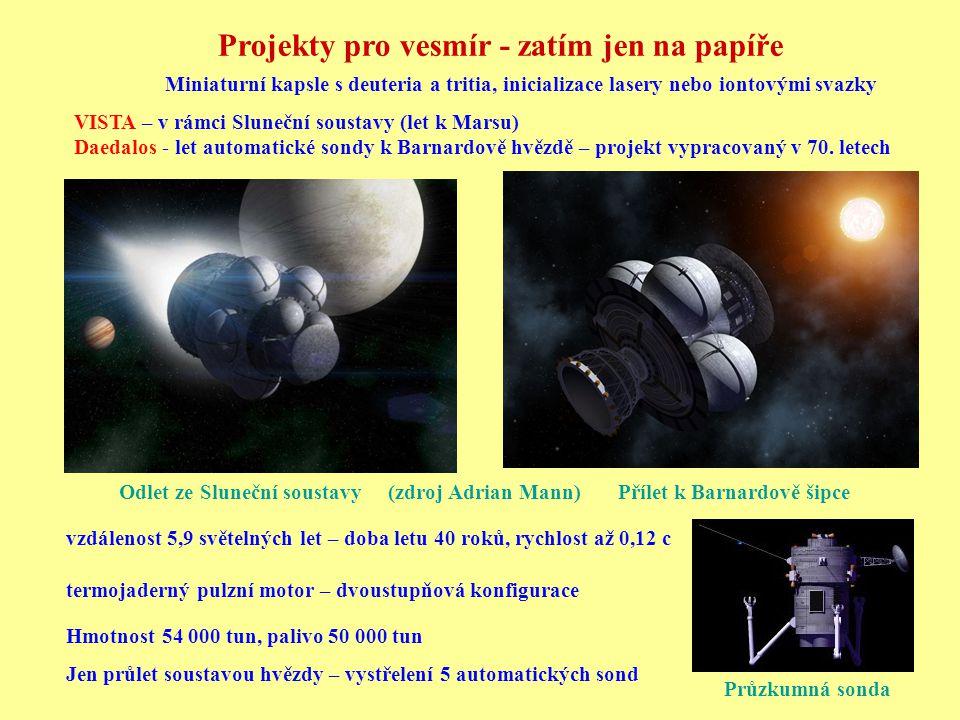 VISTA – v rámci Sluneční soustavy (let k Marsu) Daedalos - let automatické sondy k Barnardově hvězdě – projekt vypracovaný v 70. letech Průzkumná sond