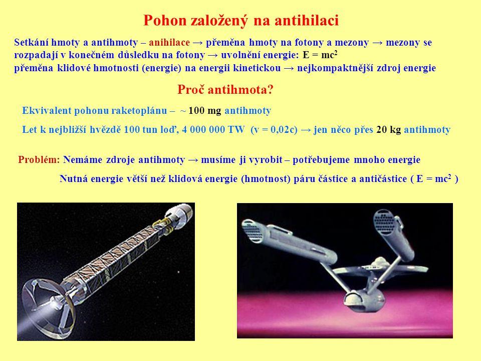 Pohon založený na antihilaci Setkání hmoty a antihmoty – anihilace → přeměna hmoty na fotony a mezony → mezony se rozpadají v konečném důsledku na fot