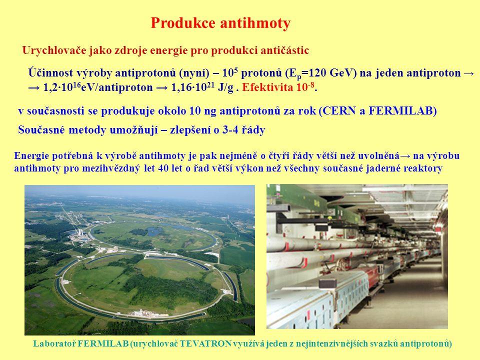 Urychlovače jako zdroje energie pro produkci antičástic v současnosti se produkuje okolo 10 ng antiprotonů za rok (CERN a FERMILAB) Účinnost výroby an