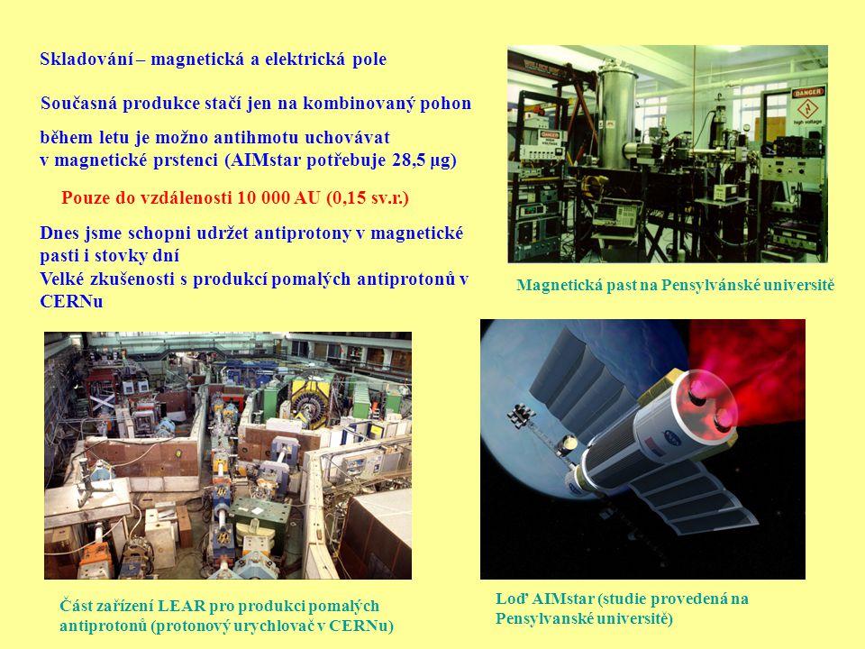 Část zařízení LEAR pro produkci pomalých antiprotonů (protonový urychlovač v CERNu) Magnetická past na Pensylvánské universitě Skladování – magnetická