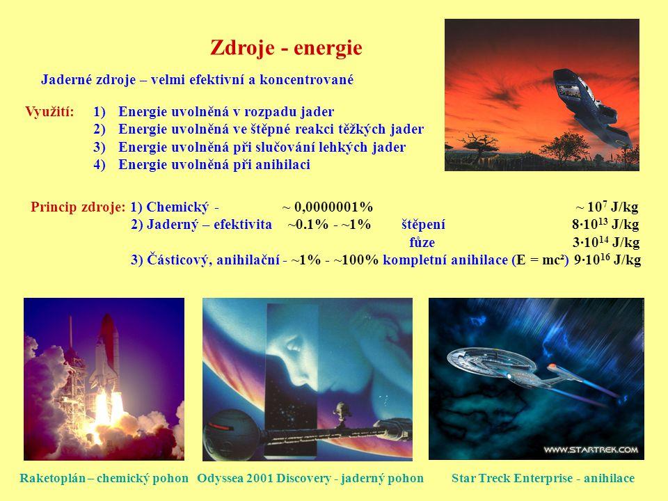 Zdroje - energie Jaderné zdroje – velmi efektivní a koncentrované Využití:1)Energie uvolněná v rozpadu jader 2)Energie uvolněná ve štěpné reakci těžký