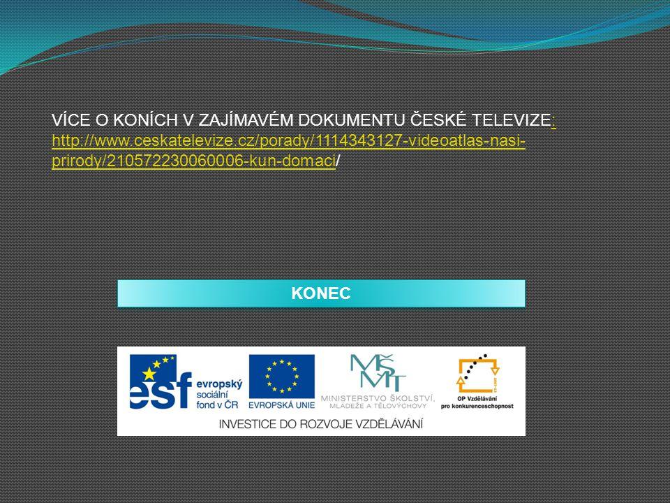 KONEC VÍCE O KONÍCH V ZAJÍMAVÉM DOKUMENTU ČESKÉ TELEVIZE: http://www.ceskatelevize.cz/porady/1114343127-videoatlas-nasi- prirody/210572230060006-kun-d