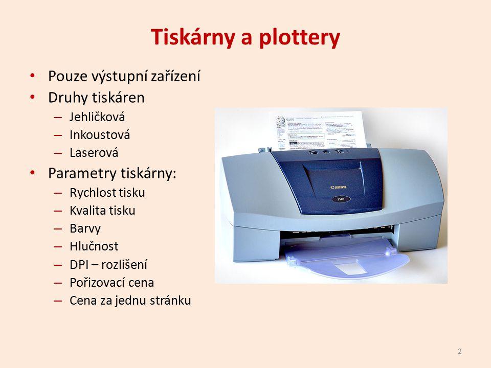Tiskárny a plottery Pouze výstupní zařízení Druhy tiskáren – Jehličková – Inkoustová – Laserová Parametry tiskárny: – Rychlost tisku – Kvalita tisku – Barvy – Hlučnost – DPI – rozlišení – Pořizovací cena – Cena za jednu stránku 2