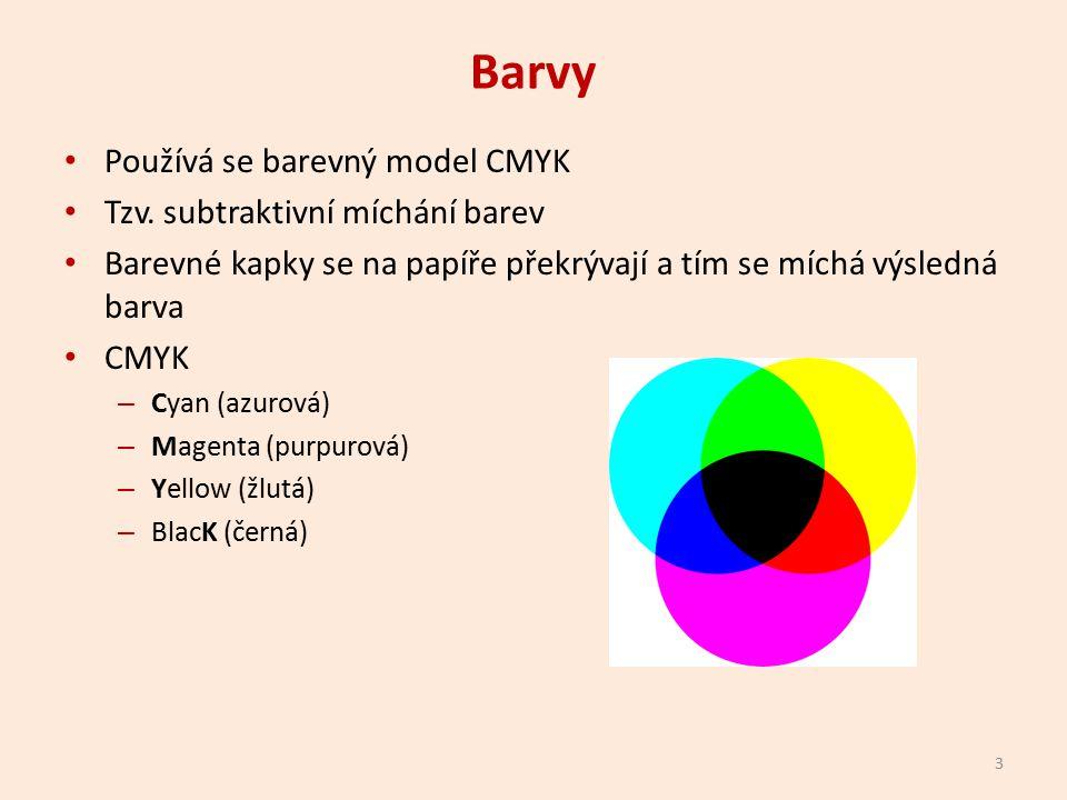 Barvy Používá se barevný model CMYK Tzv.
