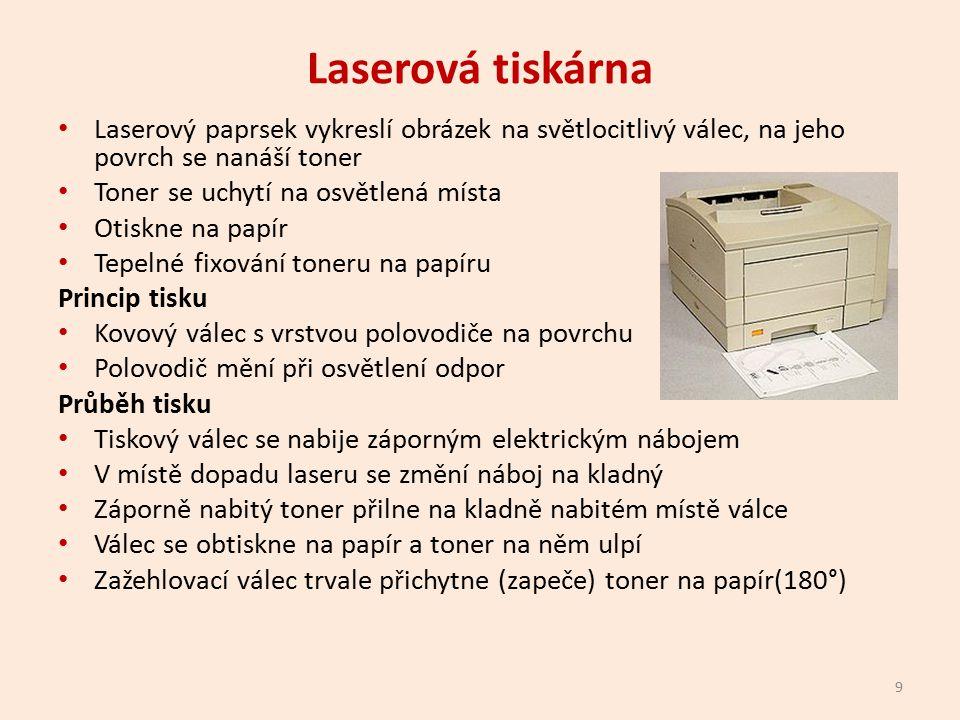 Laserové tiskárna Jedná se o stránkovou tiskárnu Výhody Barevný tisk Kvalitní tisk Rychlý tisk Nevýhody Drahý toner Nehodí se pro tisk fotografií 10