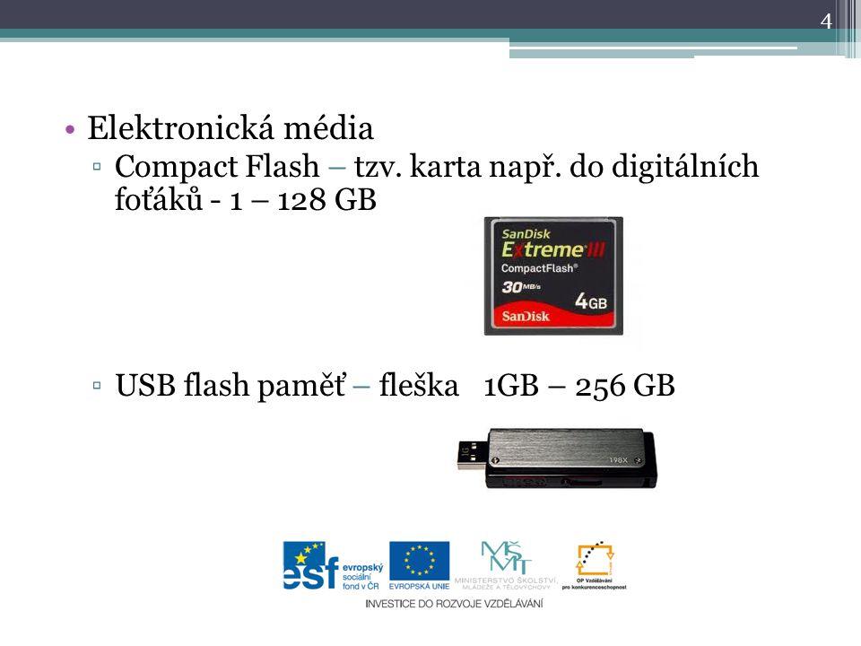 Elektronická média ▫Compact Flash – tzv.karta např.