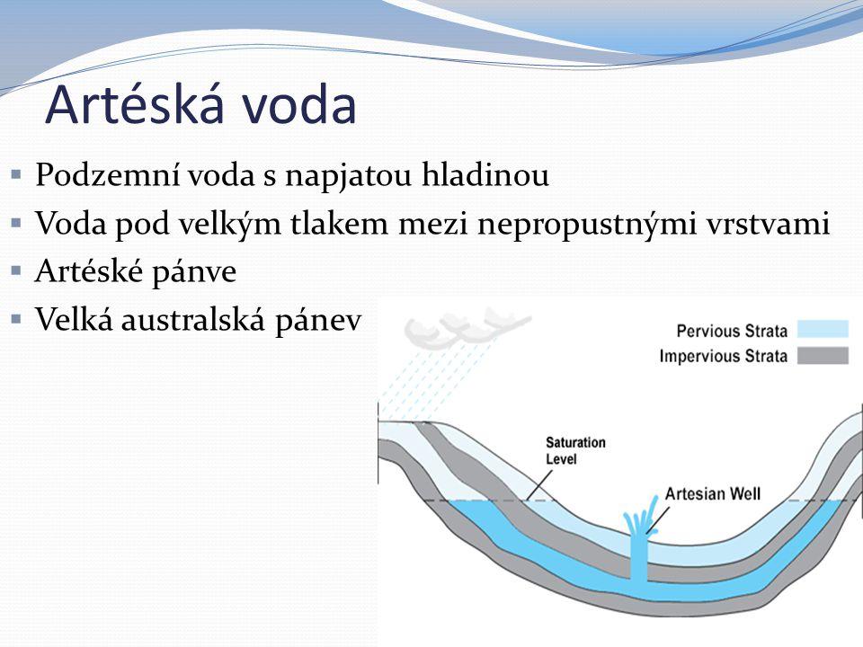 Artéská voda  Podzemní voda s napjatou hladinou  Voda pod velkým tlakem mezi nepropustnými vrstvami  Artéské pánve  Velká australská pánev