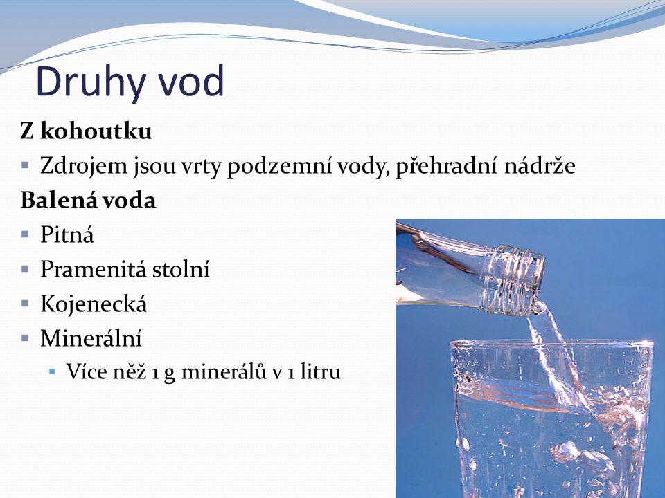 Druhy vod Z kohoutku  Zdrojem jsou vrty podzemní vody, přehradní nádrže Balená voda  Pitná  Pramenitá stolní  Kojenecká  Minerální  Více něž 1 g minerálů v 1 litru