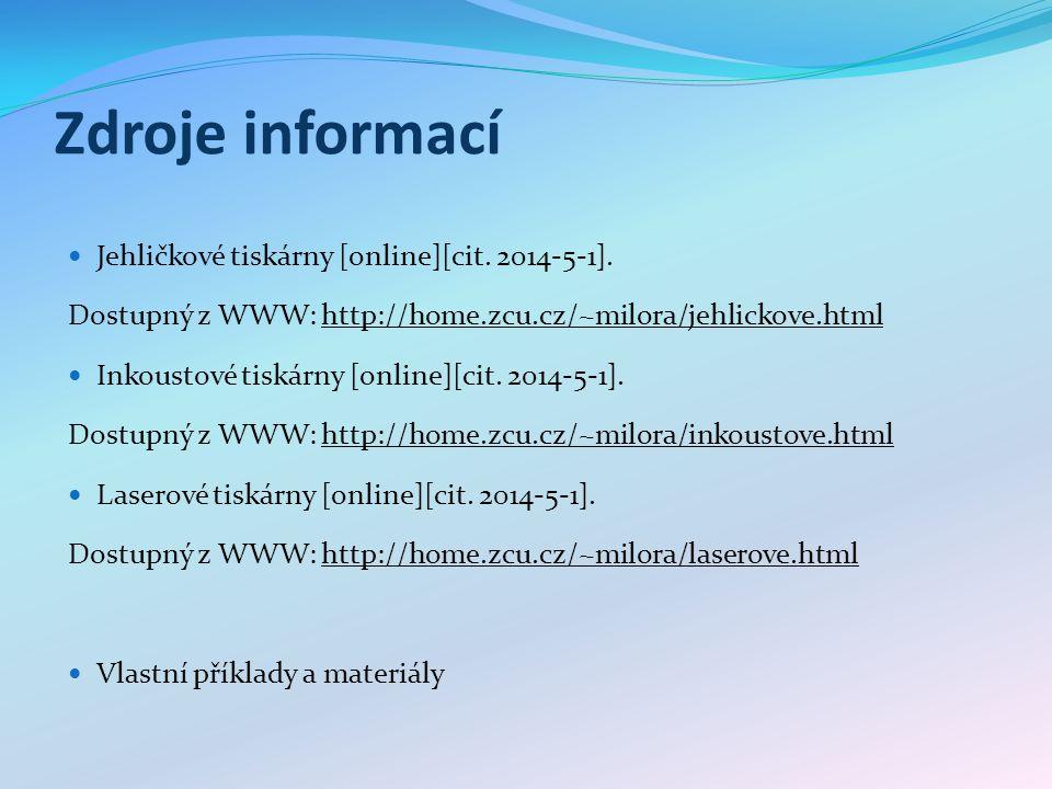 Zdroje informací Jehličkové tiskárny [online][cit.