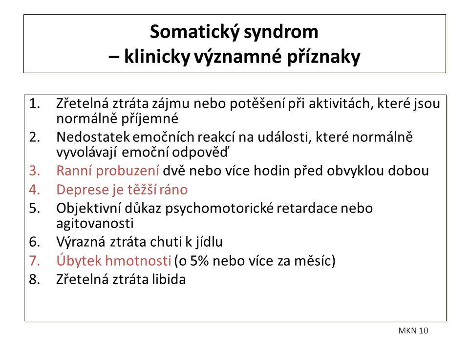 Somatický syndrom – klinicky významné příznaky 1.Zřetelná ztráta zájmu nebo potěšení při aktivitách, které jsou normálně příjemné 2.Nedostatek emočníc