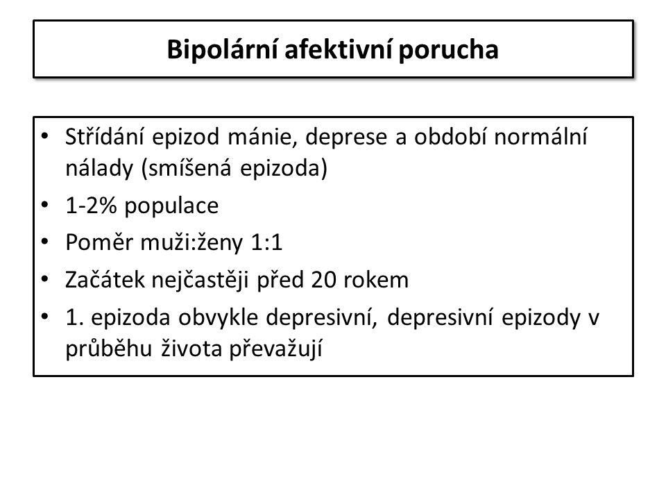 Bipolární afektivní porucha Střídání epizod mánie, deprese a období normální nálady (smíšená epizoda) 1-2% populace Poměr muži:ženy 1:1 Začátek nejčas