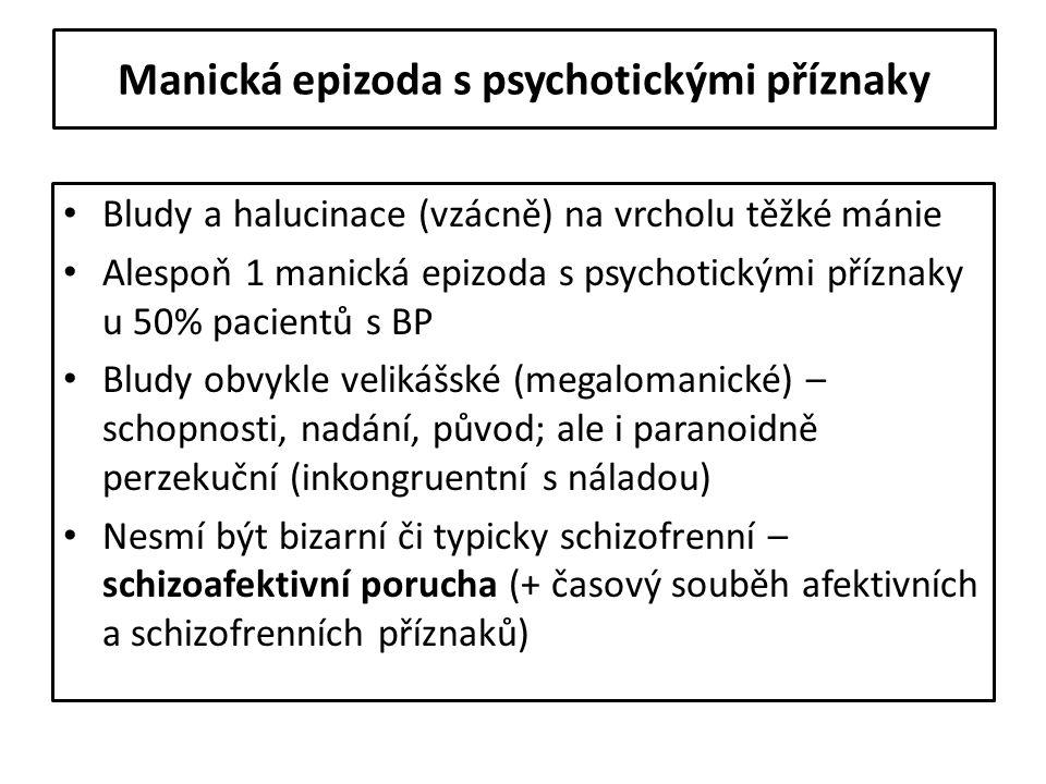 Manická epizoda s psychotickými příznaky Bludy a halucinace (vzácně) na vrcholu těžké mánie Alespoň 1 manická epizoda s psychotickými příznaky u 50% p