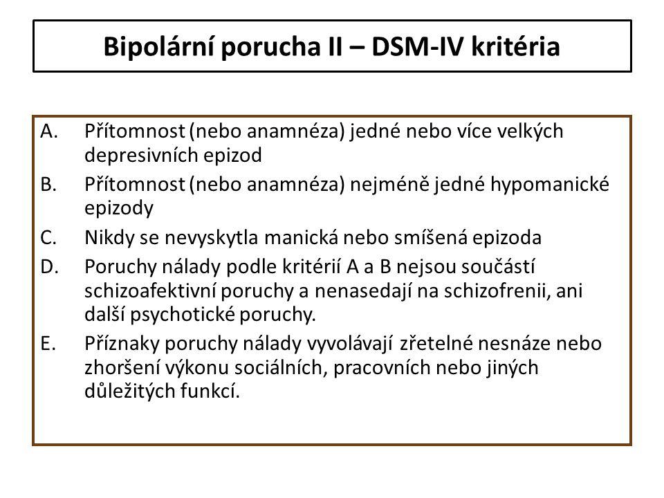 Bipolární porucha II – DSM-IV kritéria A.Přítomnost (nebo anamnéza) jedné nebo více velkých depresivních epizod B.Přítomnost (nebo anamnéza) nejméně j