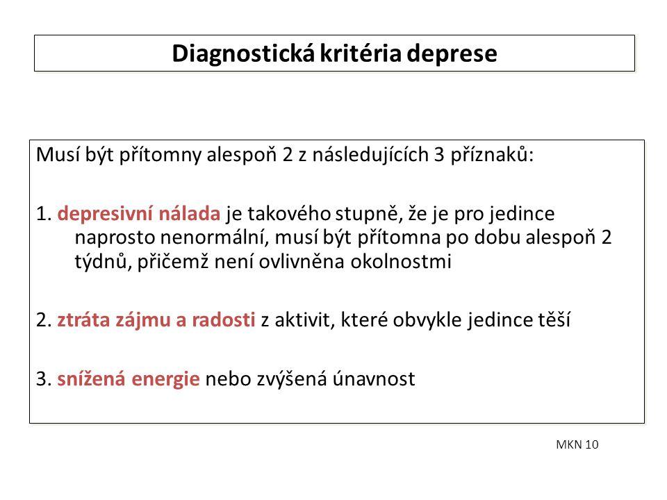 Diagnostická kritéria deprese Musí být přítomny alespoň 2 z následujících 3 příznaků: 1. depresivní nálada je takového stupně, že je pro jedince napro