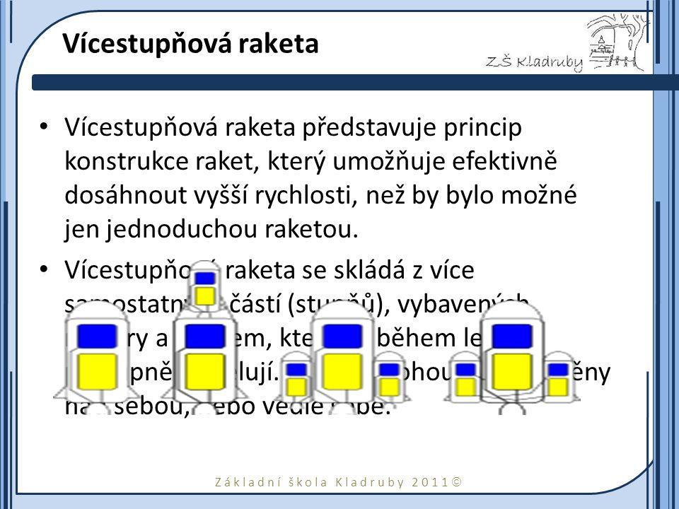 Základní škola Kladruby 2011  Vícestupňová raketa Vícestupňová raketa představuje princip konstrukce raket, který umožňuje efektivně dosáhnout vyšší rychlosti, než by bylo možné jen jednoduchou raketou.